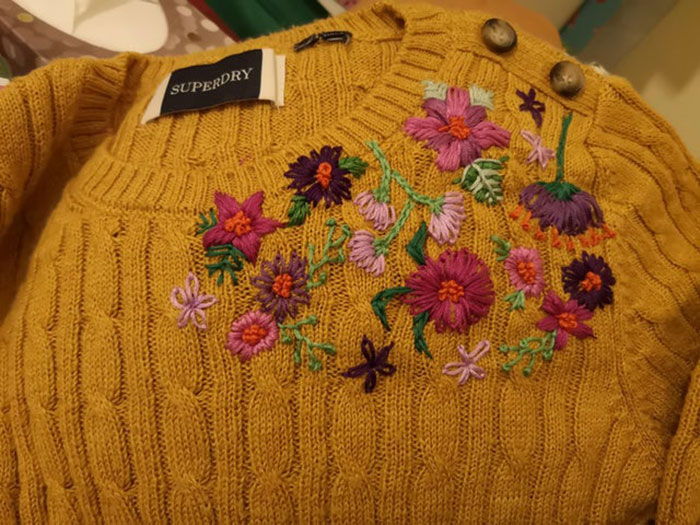 Does This Count? Spilt Pink Nail Polish On My Yellow Jumper, So I Covered It Up With Embroidery