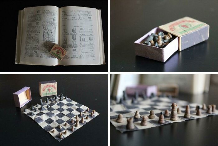 Prison Chess Set Made In The 1950s - Made Out Of Toilet Paper, Dried Bread & Shoe Paste
