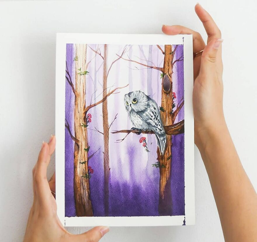 I Painted My First Owl 3 Years Ago, And Haven't Been Able To Stop Since (36 Pics)