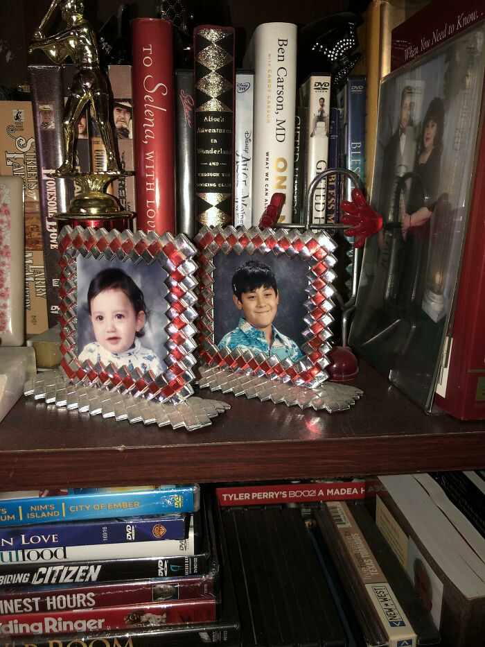 Two Picture Frames Made Out Of Chip Bags An Inmate Had Given My Mom Whilst Working The Jail As A Nurse
