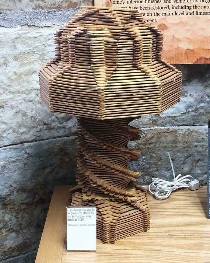 Prison Lamp Made From Popsicle Sticks