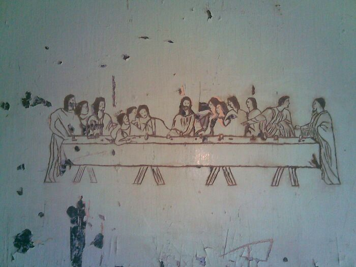 """""""The Last Supper"""" As Carved By An Inmate On A Jailhouse Door"""