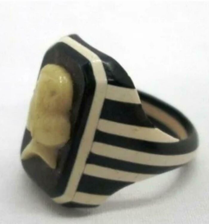 Prison Made Celluloid Bakelite Ring, Gifted To A Prison Guard, 1930s Ww2