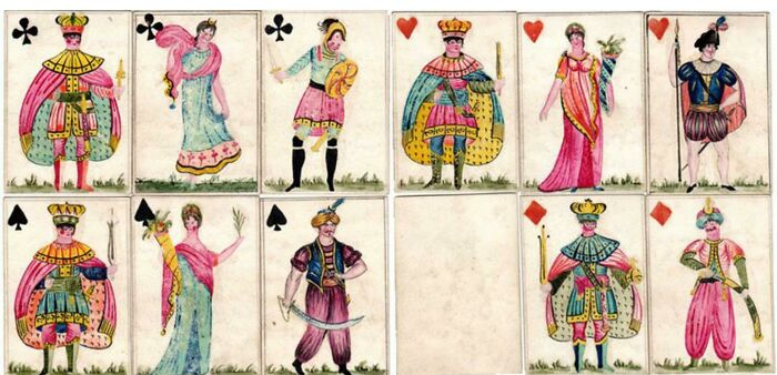 Hand Painted Playing Cards Made By French War Prisoners, Hampshire 1796