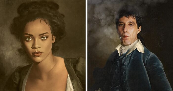 French Artist Adds Celebrities And Characters Into Classical Paintings, And The Results Are Quite Fitting (100 Pics)