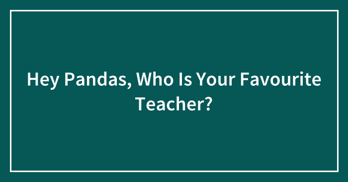 Hey Pandas, Who Is Your Favourite Teacher?