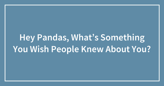 Hey Pandas, What's Something You Wish People Knew About You?