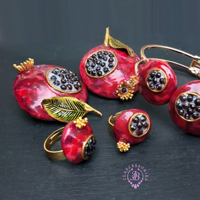 The Unusual Design Of Pomegranate Jewelry I Made Out Of Polymer Clay (20 Pics)