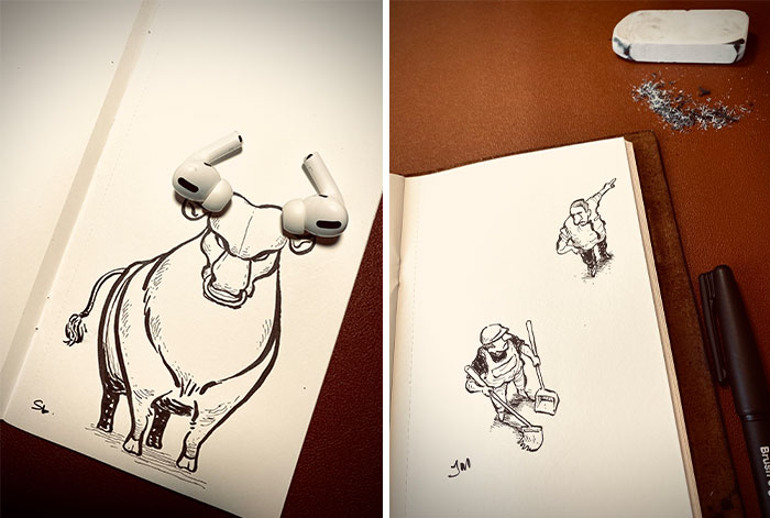 I Drew These 30 Illustrations And They Interact With Everyday Objects