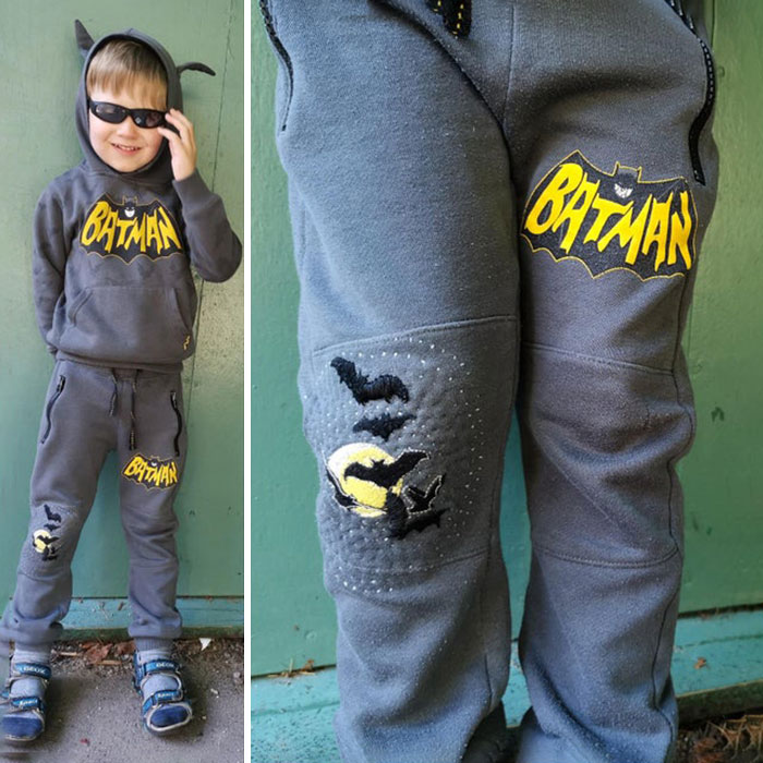 Patched And Mended My 4 Year Olds Batman Sweatpants With A Night Sky With Bats