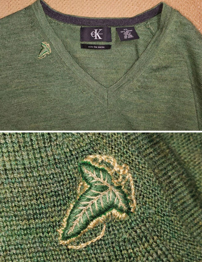 Rescued Husband's Sweater From A Hole By Embroidering A Leaf Of Lorien Over It