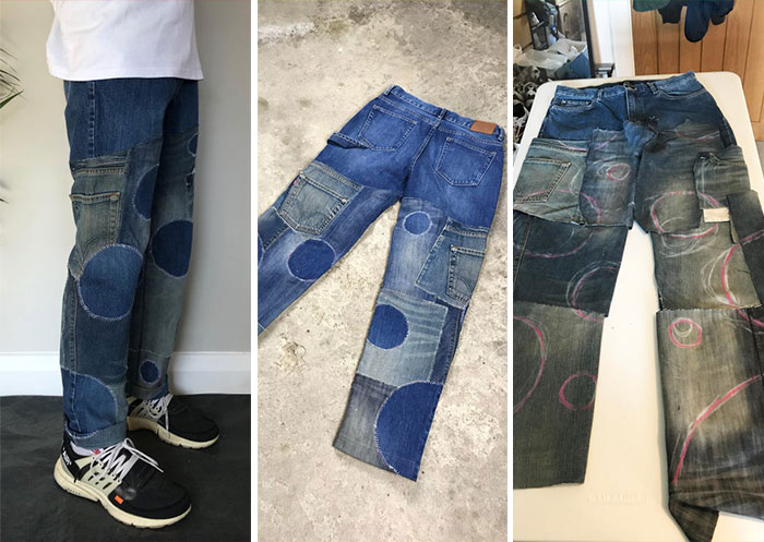 I Had Lots Of Old Jeans That Either Didn't Fit Or Were Worn Out, So I Made Them Into A New Pair!