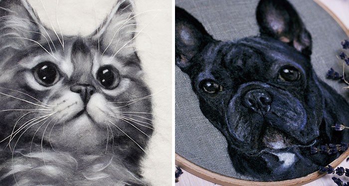I Help The Owners Of Pets Keep Warm Memories By Making Realistic Felted Wool Portraits Of Them (40 Pics)